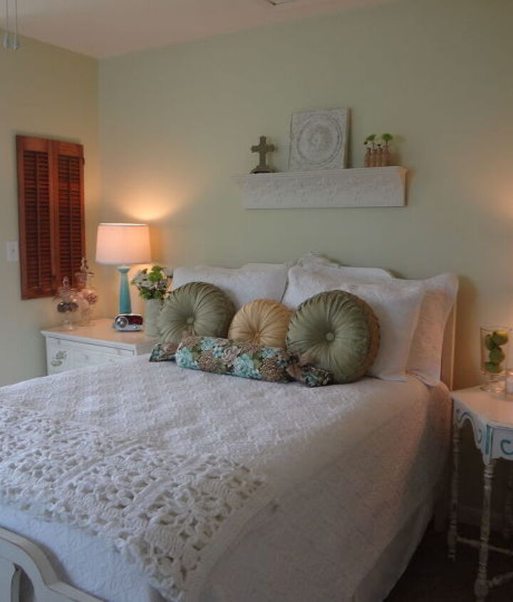 The quilt, shams and all bedding came from Home Goods.  My husband painted the walls with SW Celery.