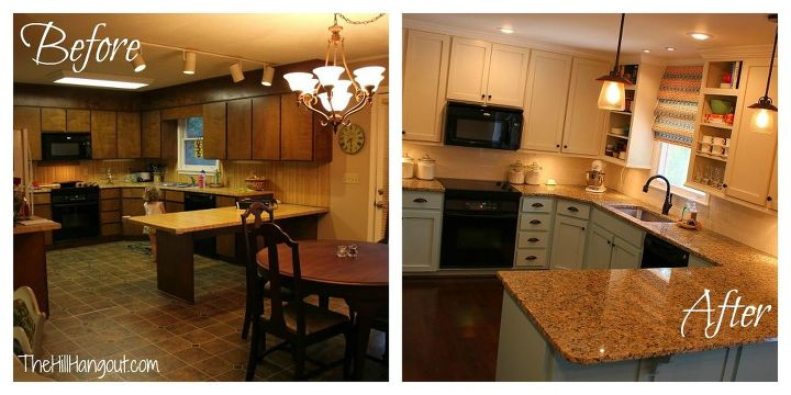 kitchen renovation before amp after, countertops, home decor, kitchen design, organizing, The before and after We went from a world of wood to a world of color
