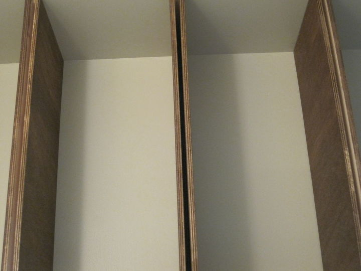 storage in small half bathroom, bathroom ideas, diy, how to, shelving ideas, storage ideas, urban living, Next we installed the top bottoms of the shelves by nailing them to the braces Finally we nailed the fronts to the shelves