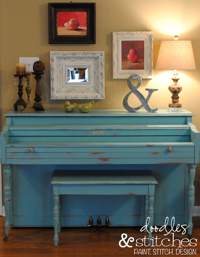 a painted piano, painted furniture, finished piano