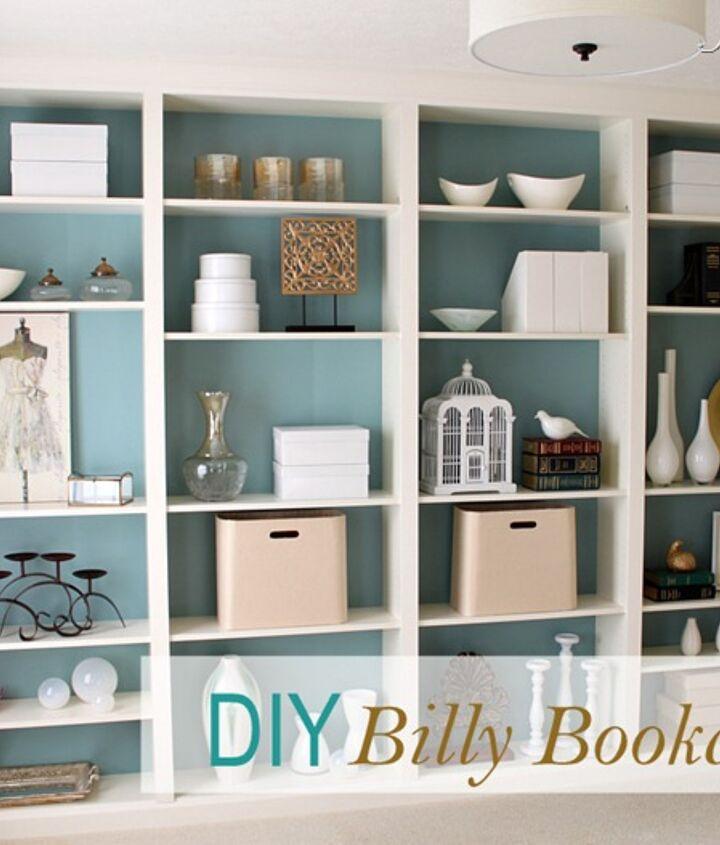 DIY custom bookcases from Ikea shelves http://justagirlblog.com/billy-bookcases-diy/