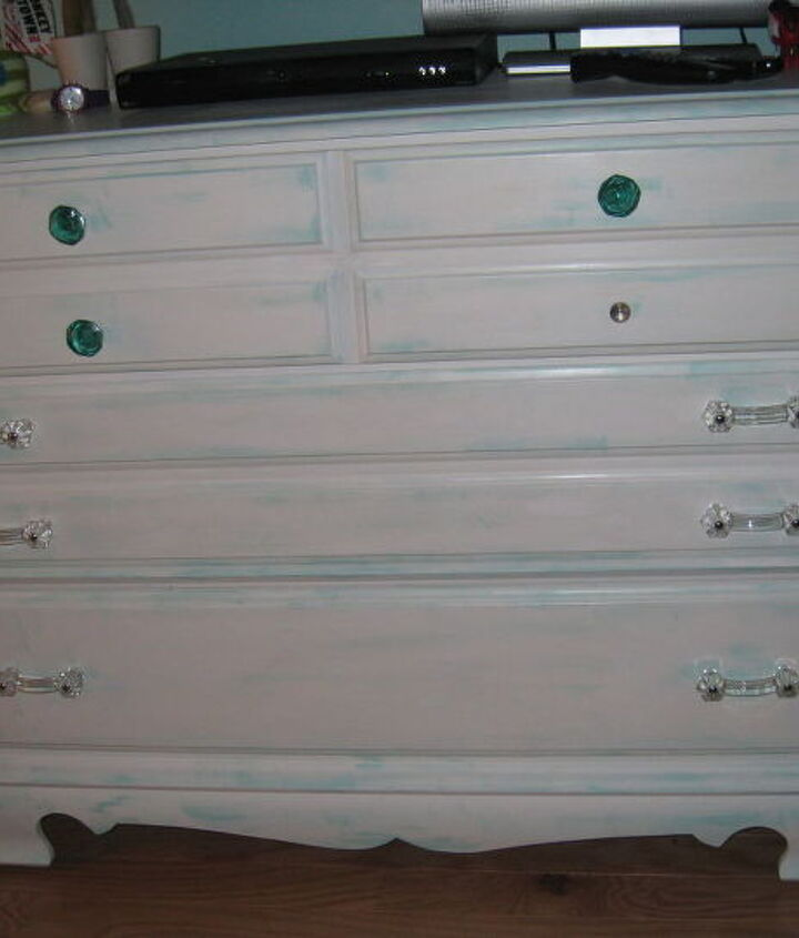 """Dresser finished and in the room.  Just need to glue on the last """"jewel""""."""