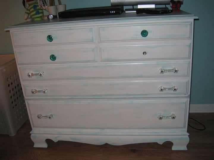 "Dresser finished and in the room.  Just need to glue on the last ""jewel""."
