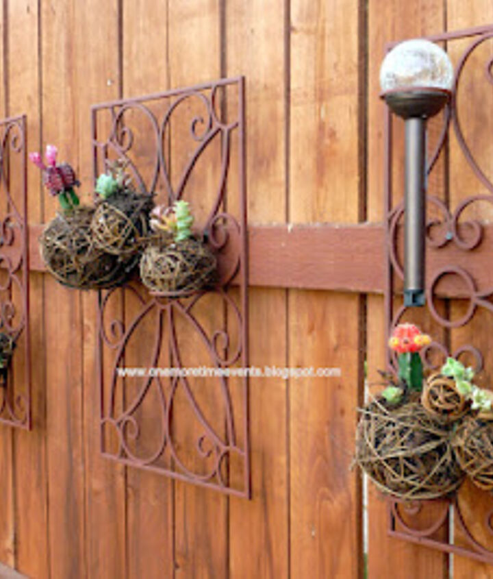Wrought Iron Sconces Turned into a Outdoor Wall Planter After