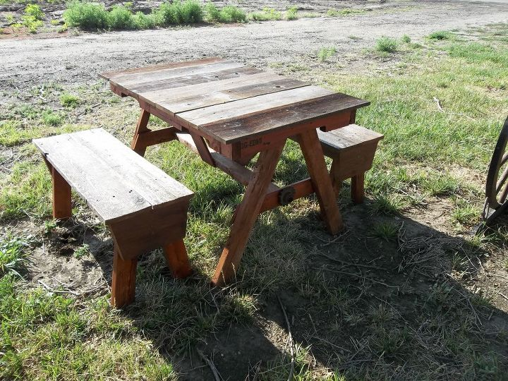 This table was made for my grand daughter's in range from 4-10 years old. The regular child's picnic table was to small for the older girls, and the adult size was to big for the younger. My version of the in between size. They love it