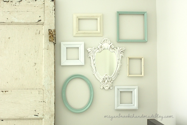 gallery wall of frames amp antique glazed mirror, home decor, wall decor, Gallery Wall of Frames Antique Glazed Mirror