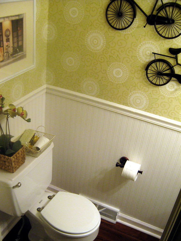 Beadboard wallpaper is thick, easy to hang, paintable, and looks like the real thing!