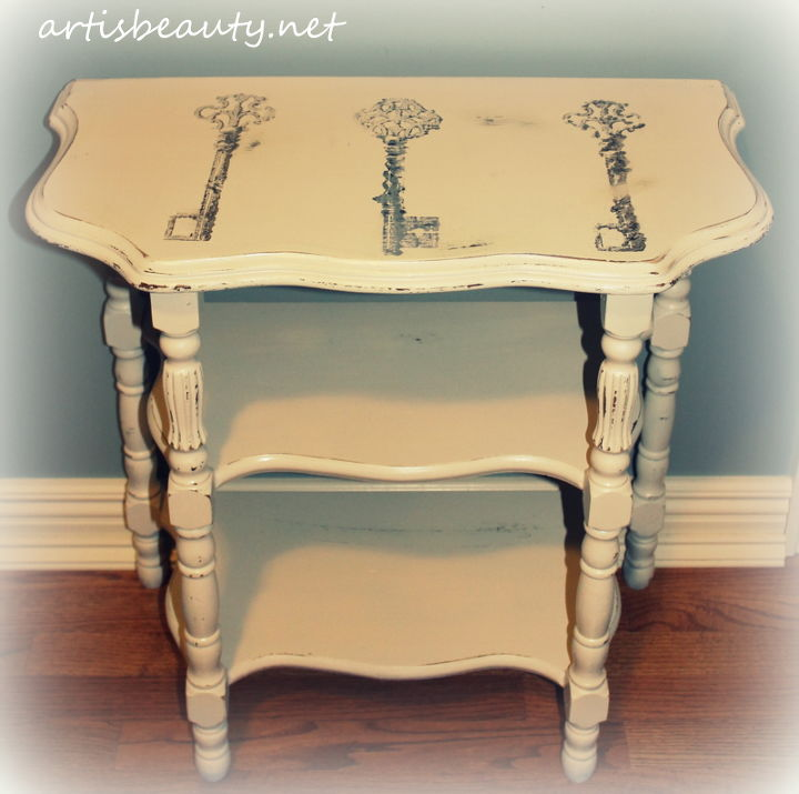 shabby chic freezer paper transfer, home decor, painted furniture, shabby chic