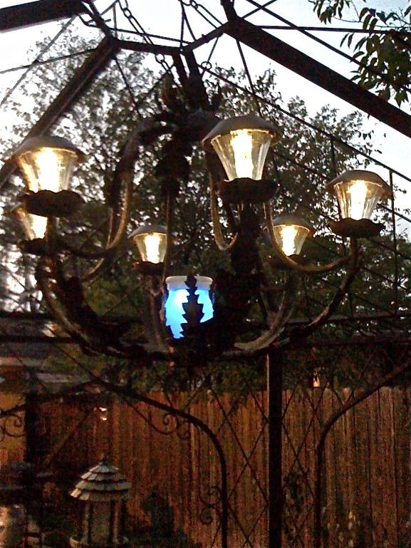 diy solar light chandelier, crafts, outdoor living