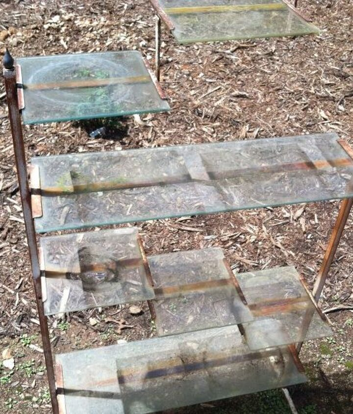 q removing glass from metal plant stand, garages, repurposing upcycling