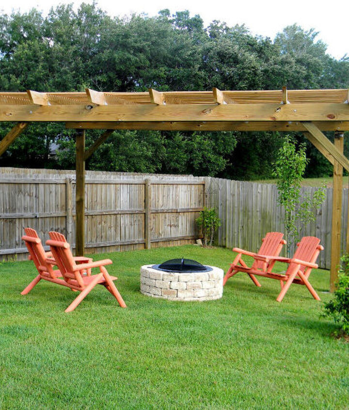 Our pergola and firepit area that my husband built has been a wonderful addition to our backyard.  He even built me a beautiful potting bench with the leftover lumber.