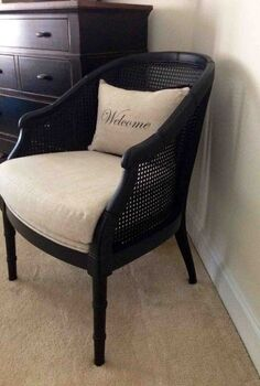 a welcomed chair makeover, painted furniture, reupholster, After the makeover