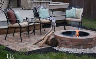 diy paver patio and fire pit, concrete masonry, decks, outdoor living, patio
