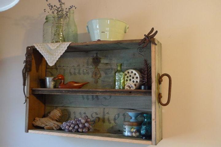 repurposed old trunk, repurposing upcycling, Trunk repurposed into shelf
