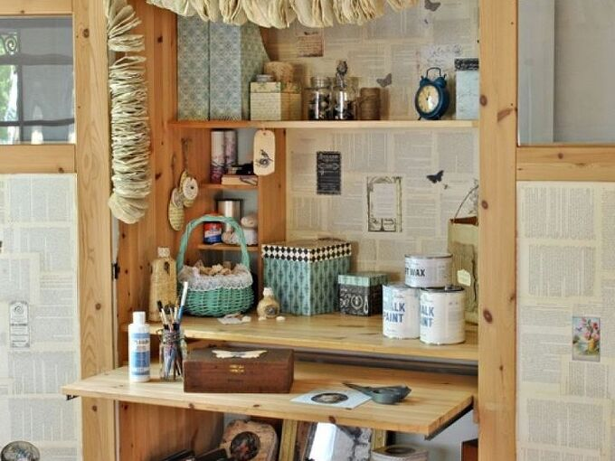 ikea cabinet turned craft center, craft rooms, kitchen cabinets, Magazine holders decoupage boxes and small bags keep crafting supplies organized