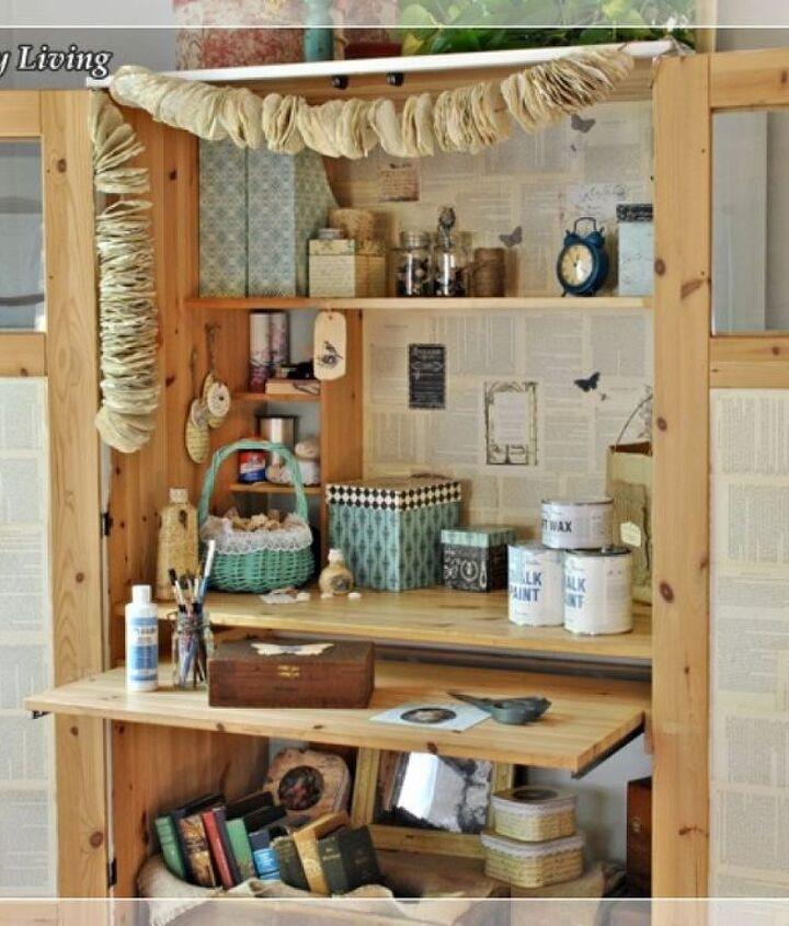 Magazine holders, decoupage boxes, and small bags keep crafting supplies organized.