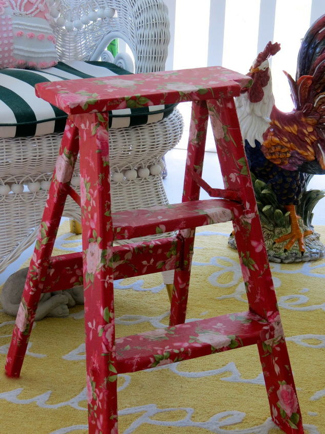 my fabric covered step stool, painted furniture