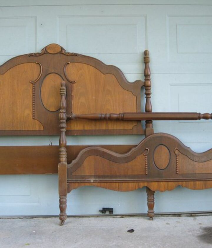 garden bench, gardening, painting, repurposing upcycling, This is the bed how I bought it from the thrift store for 35 00