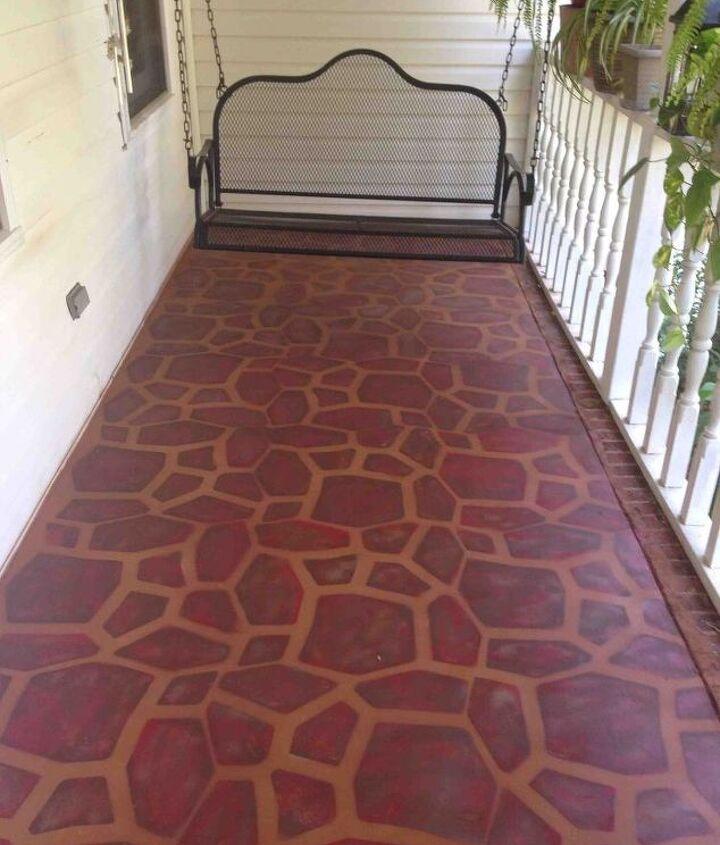 porches painted concrete stone stencil makeover, concrete masonry, diy, painting, porches, All done and cozy now