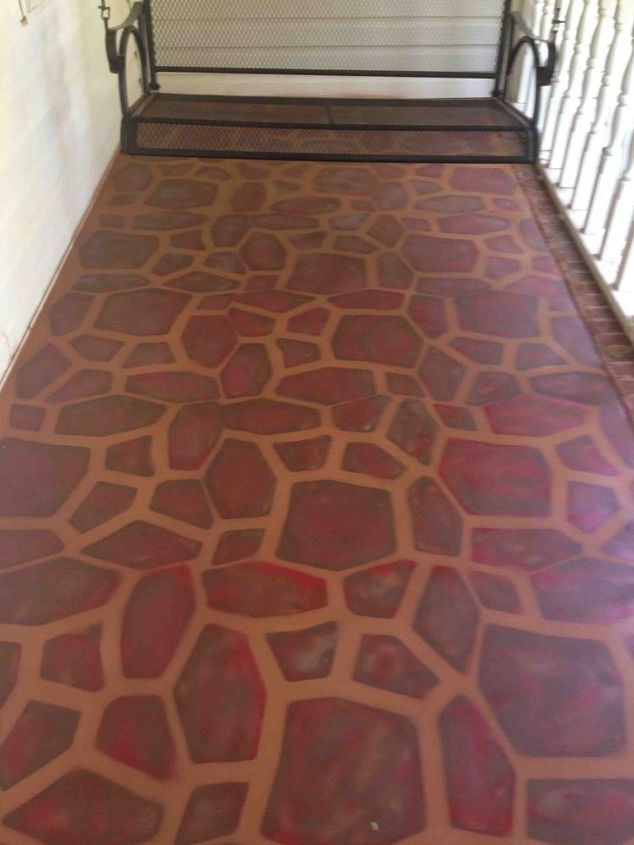 porches painted concrete stone stencil makeover, concrete masonry, diy, painting, porches, Reds browns caramel and linen colors mixed and brushed into the concrete