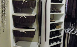 organized master bedroom closet, closet, organizing, shelving ideas, I found the baskets at HomeGoods but they are also available at Target I keep tank tops t shirts shorts etc in each basket