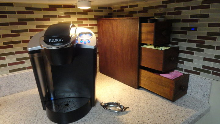 3 drawers from a singer sewing machine, repurposing upcycling, Sugar creamer coffee organizer