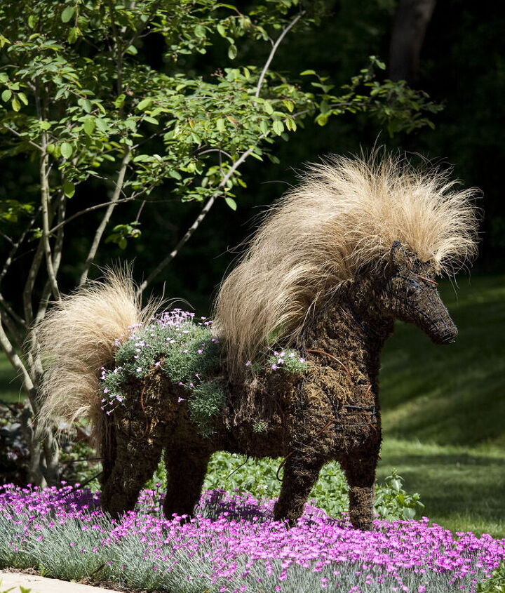 topiary horse planted with and among perennials, flowers, gardening, perennials