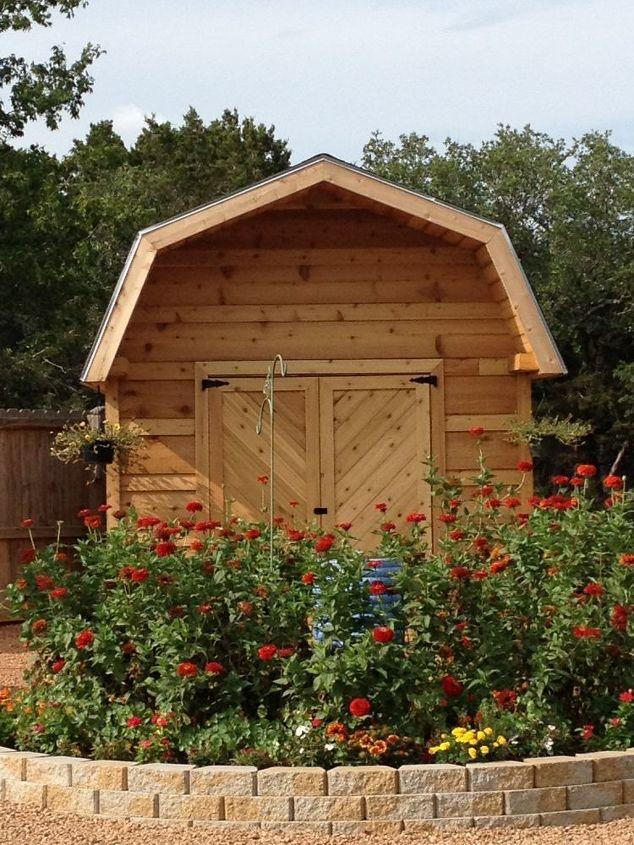 cedar barn flower garden, flowers, gardening, outdoor living