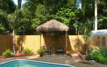 diy outdoor tiki hut using repurposed materials, home improvement, outdoor living, Our Tiki Hut