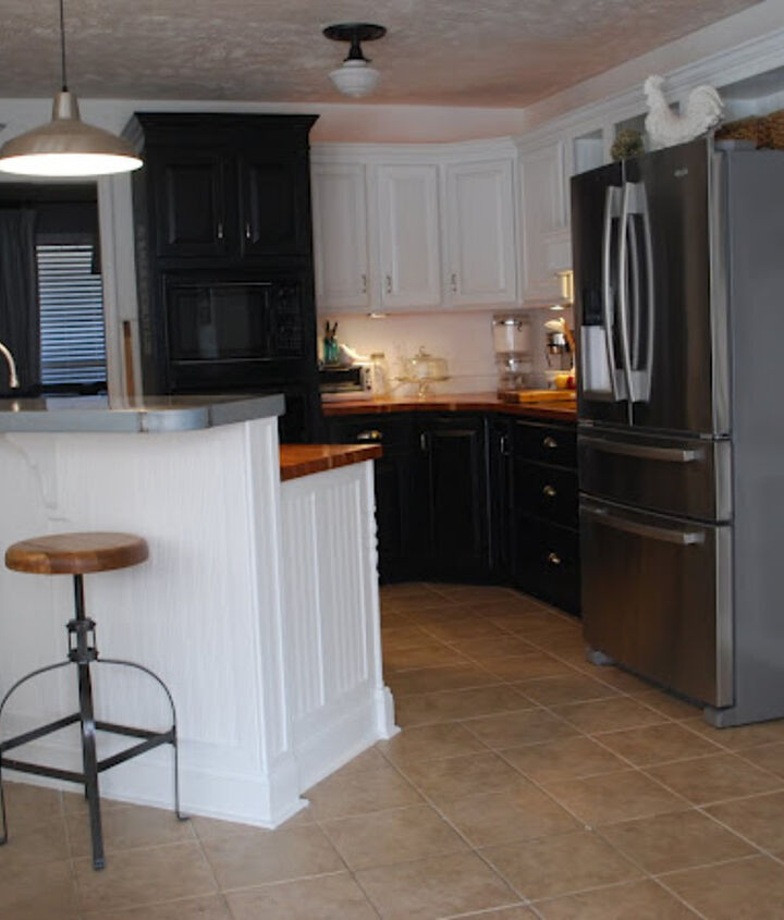The cabinets were oak and stained a dark red mahogany when we first built the house. It was a happy, happy day when I finally painted over all that dark wood.
