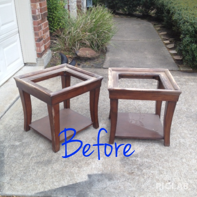Before picture of the end tables