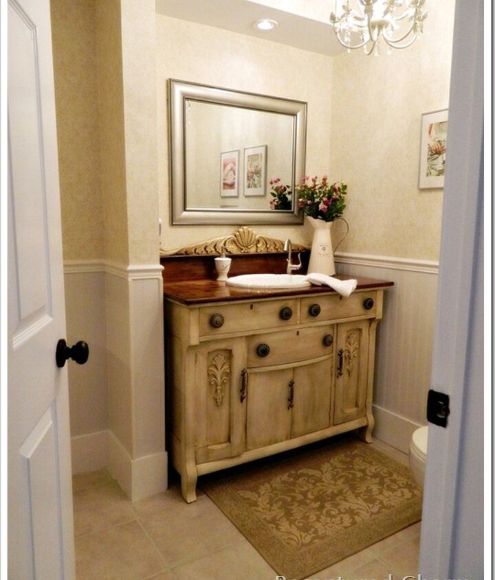 Powder Room with antique buffet, beadboard