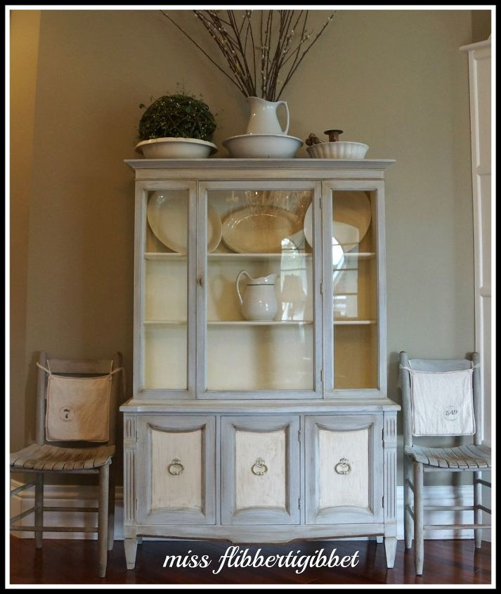 This is a china hutch I refinished using ASCP in Paris Gray and Old White.