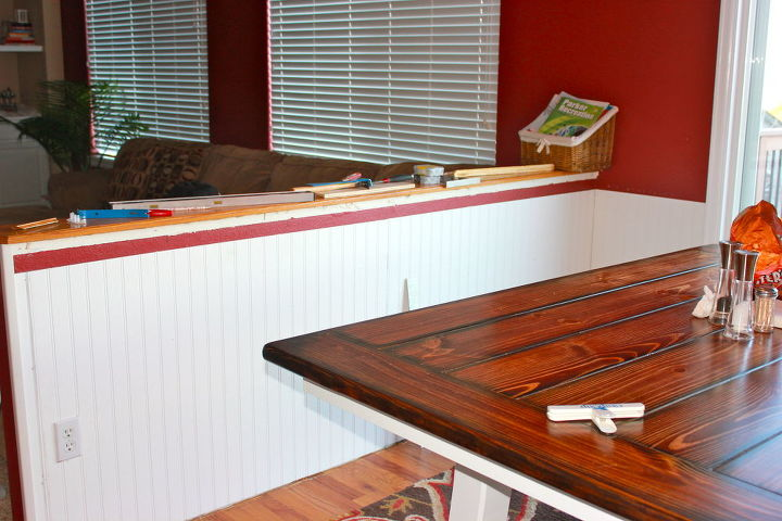 So we added beadboard to it and the entire surrounding area.