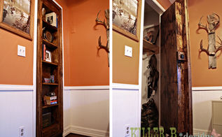 hidden bookcase door, doors, entertainment rec rooms, storage ideas, The door is installed on the original closet hinges