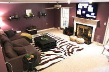 dark basement becomes a cozy family room, basement ideas, fireplaces mantels, home decor, Basement after