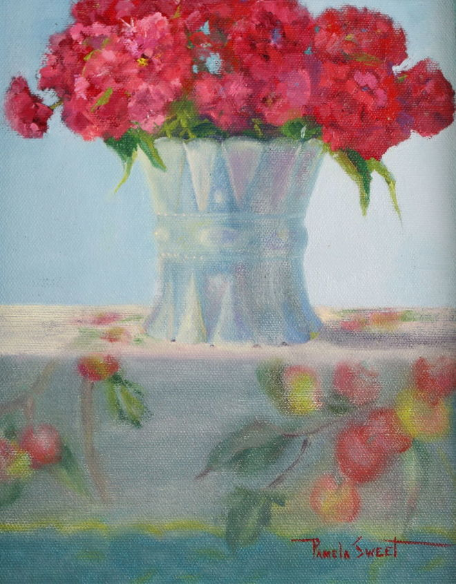oil paintings from my gardens, flowers, painting, In my wildflower garden I have Sweet William Finding antique containers and old fashioned tablecloths to pair them with was so enjoyable Completed oil painting 8 x 10 for sale at