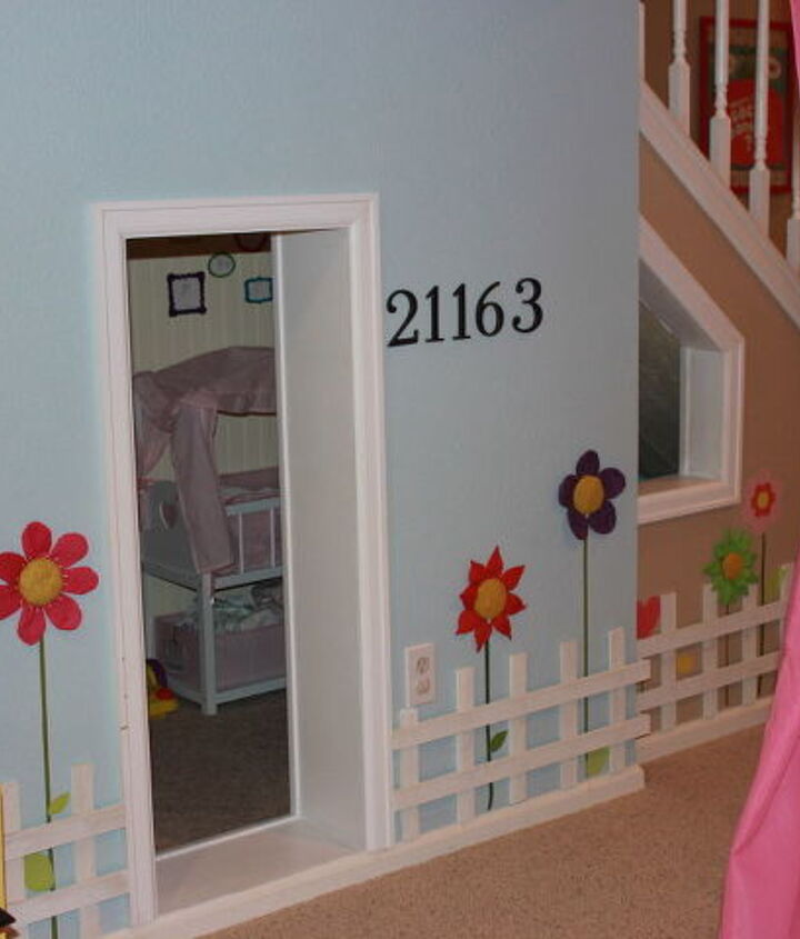 Playhouse under the stairs where the girls keep all their babies.