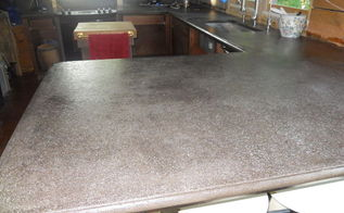 diy cement counter tops don t even think about it here is our, concrete masonry, concrete countertops, countertops, Put two coats of chemicals on the entire thing to seal it Hope the shine ends up less shinny Get out of the house because the chemical odor is noxious