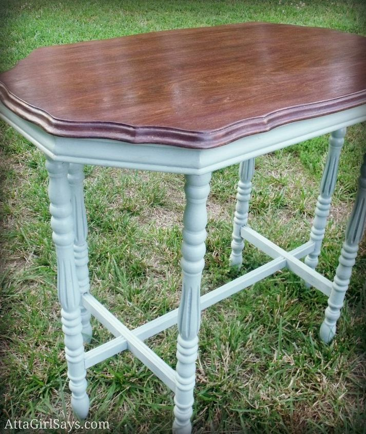 "Duck egg blue ""ballerina"" table with stained top"