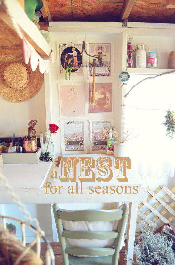 Shed Desk with Art Prints and Bunting  [A Nest for All Seasons]  http://www.anestforallseasons.com/2012/02/before-after-photography-studioahemi.html