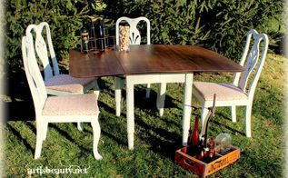 home made chalk paint on rescued dining table and goodwill chairs, chalk paint, painted furniture