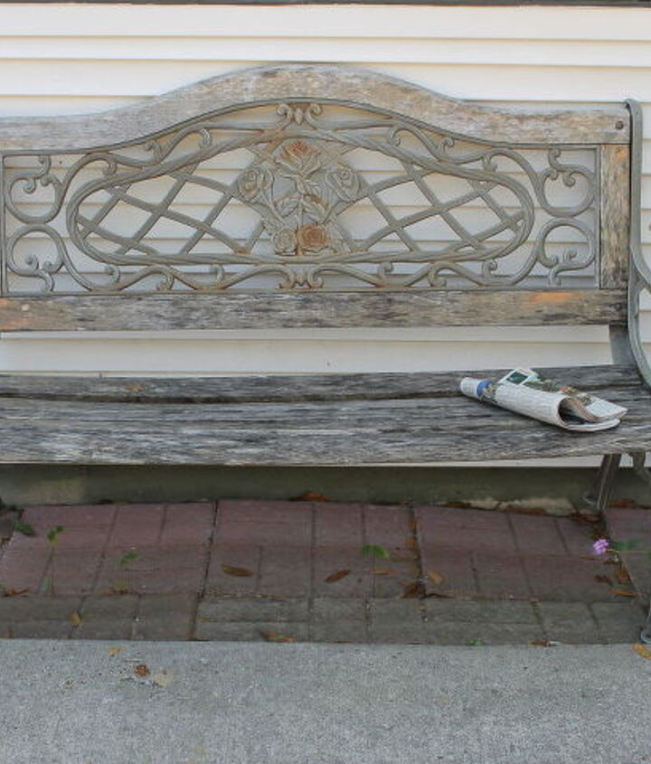It's a great, sturdy bench.  It was so pretty when we first saw it.  Funny thing, I still see it that way.  That's what my husband says about me!  :)  I don't let him go to the eye doctor.