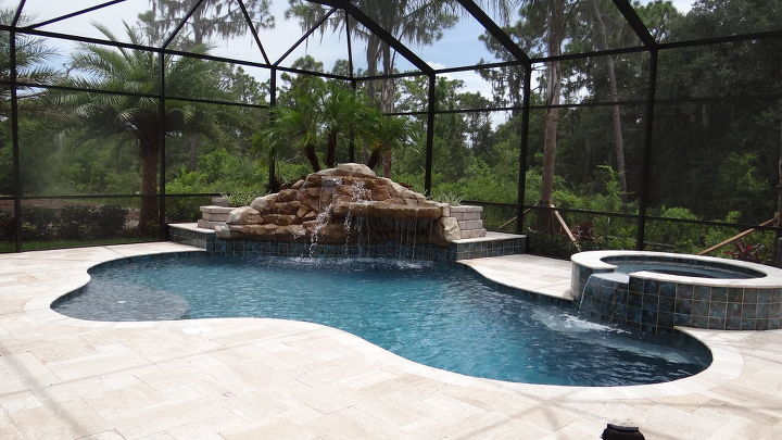 swimming pool waterfall and ponds, decks, outdoor living, pool designs