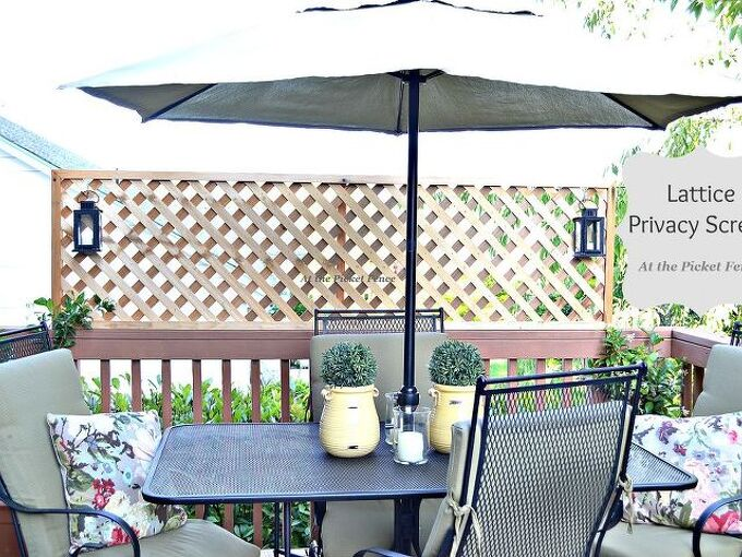 how to add privacy to a deck wood lattice screen, outdoor living, woodworking projects, Lattice creates privacy on the one side of our deck where we really needed it