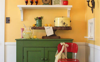 DIY Shelves add Fun and Color to a Dining Room
