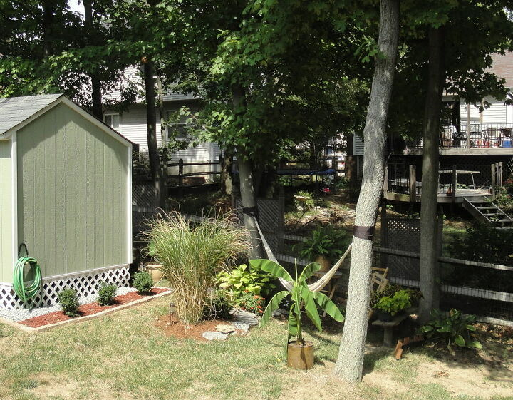 need advice for privacy around my hammock, outdoor living, Hammock near the fence