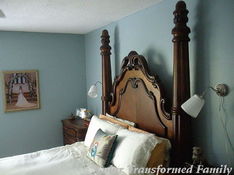 View of headboard and lights.