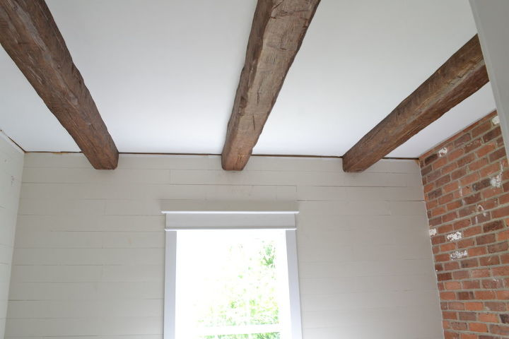 installing faux wood beams in our master bath, bathroom ideas, home decor, woodworking projects