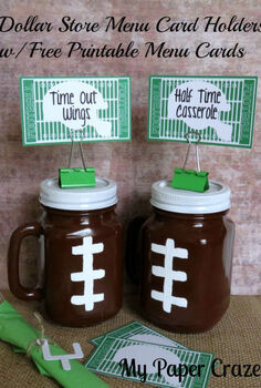 mason jar football dollar store menu card holders, crafts, mason jars